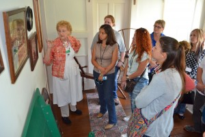 Docent Frieda Pettijohn leads a tour of the Riley Home for the 2016-17 Leadership Hancock County Class. The class of 2017-18 also will visit the boyhood home of the Hoosier Poet for History Day.