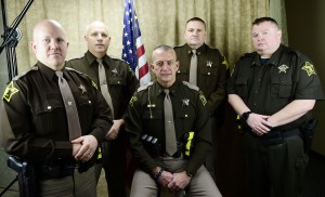 Hancock County Sheriff Department's new leadership team: Capt. Rob Harris, Maj. Robert Campbell, Sheriff Brad Burkhart, Capt. Ted Munden and Capt. Keith Oliver.  (Photo courtesy of the Daily Reporter)