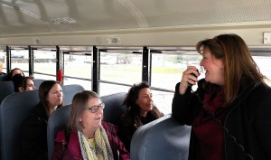 Brigette Jones, a historian and the county director of tourism, narrated a rolling tour of county historical sites. Greenfield-Central schools provided a bus for the tour.